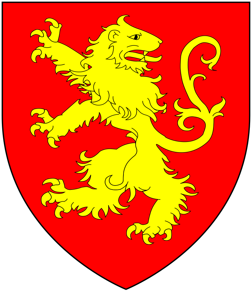 Arms of Morice of Werrington, Devon: Gules, a lion rampant reguardant or[1]