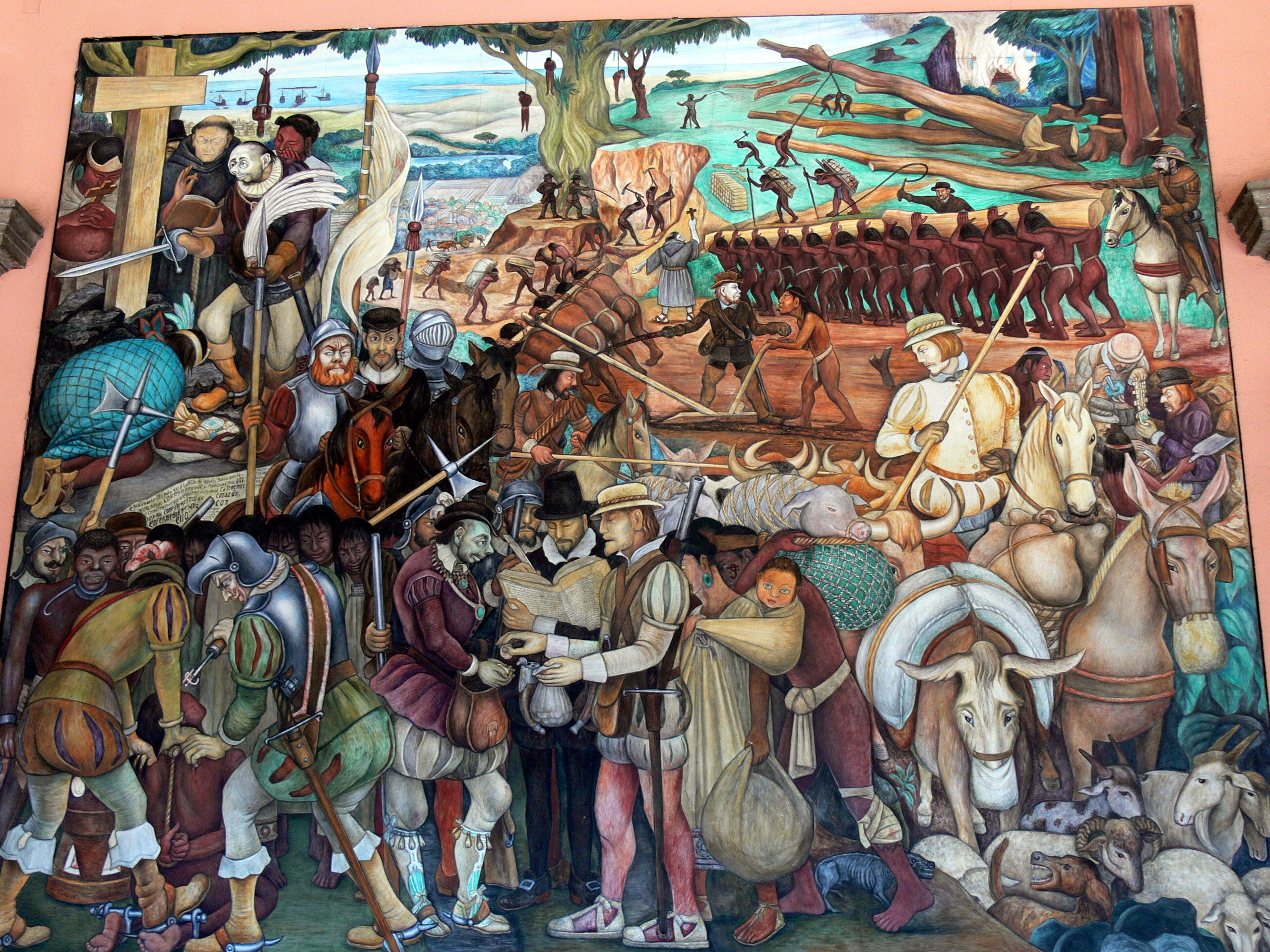 Description Murales Rivera   Ausbeutung Durch Die Spanier 1