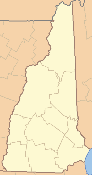 A map of the US state of New Hampshire with county borders.