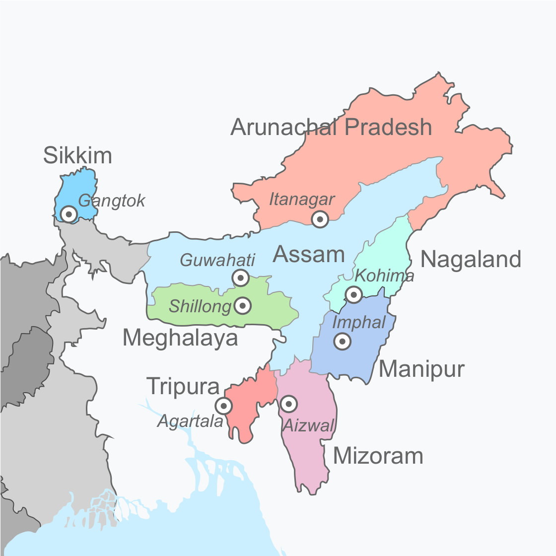 Northeast India - Wikipedia on north middle states and capitals, northeastern states map with capitals, northeast us map with capitals, northeast usa map with capitals, east region states and capitals, northeastern usa state and capitals, north east united states map, middle east states and capitals,