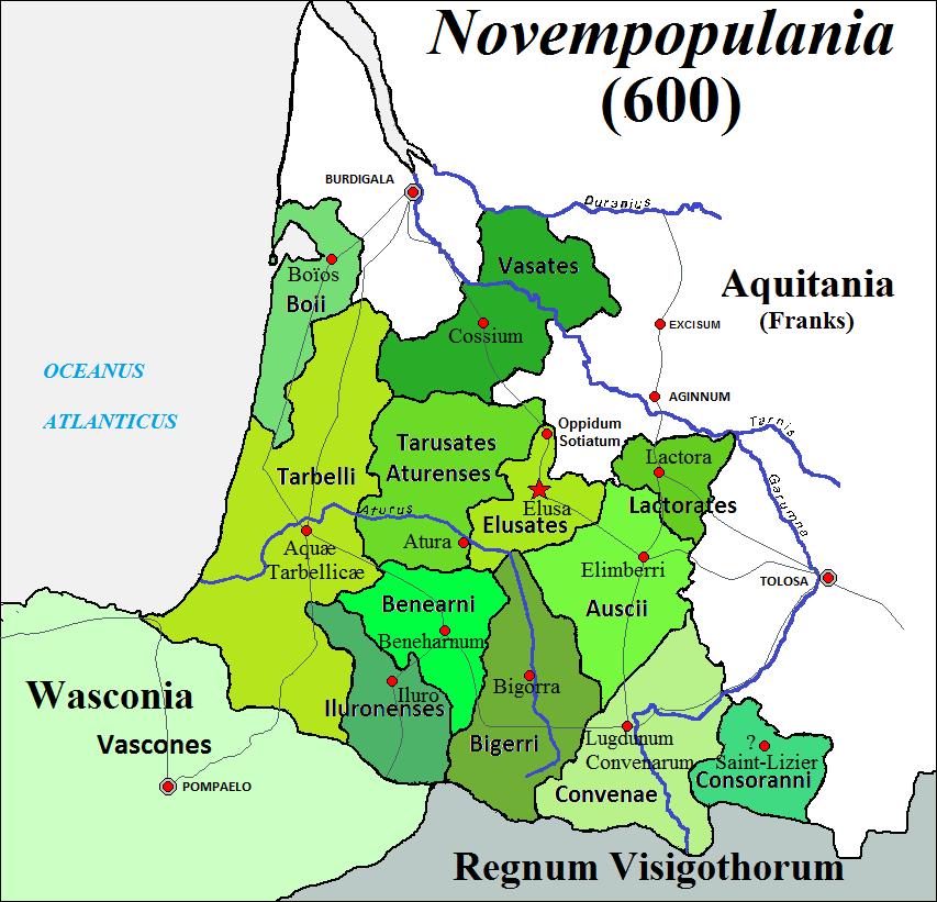 Carte de la Novempopulania en l'an 600