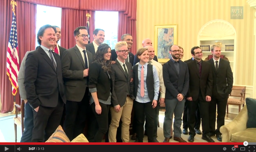 """Leading YouTube content creators met at the White House with U.S. President Obama to discuss how government could better connect with the """"YouTube generation"""".[229][231]"""