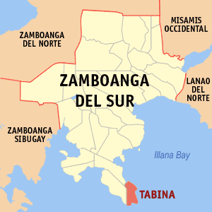 Map of Zamboanga del Sur showing the location of Tabina