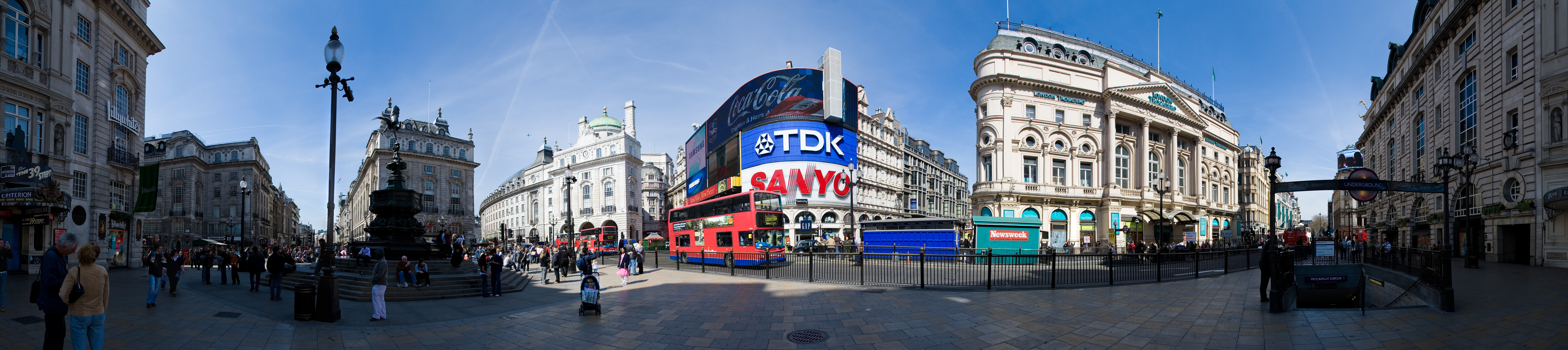 Piccadilly Circus and Trafalgar Square