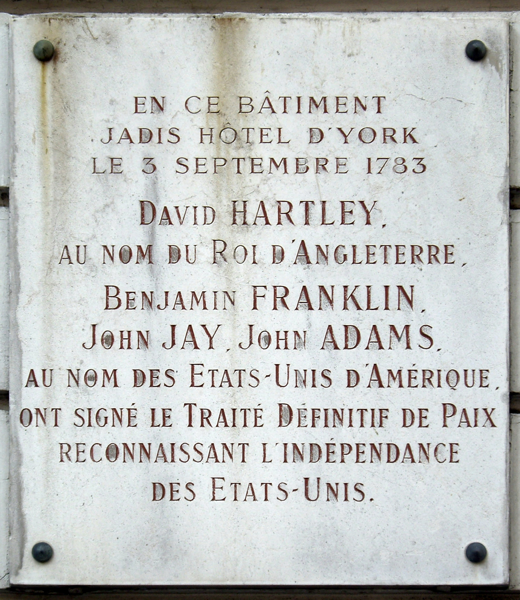 commemorative plaque of the Treaty of Paris