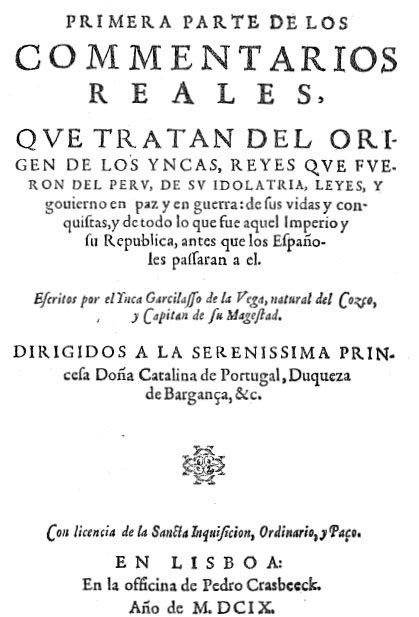 Portada de los Comentarios reales de los incas - 1609.jpg