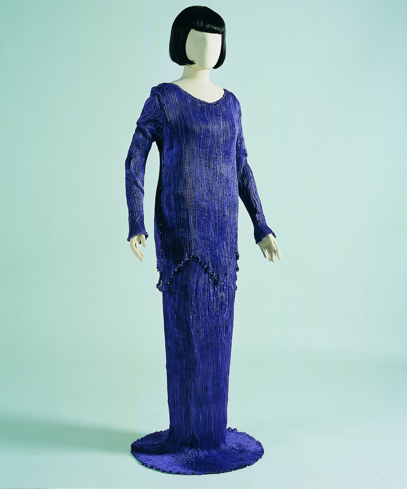 Purple Silk Peplos With Sleeves Pff Collection