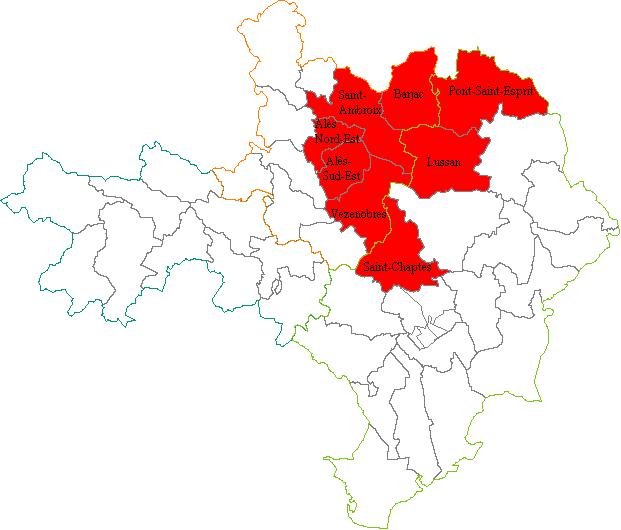 carte des circonscriptions du gard Gard's 4th constituency   Wikipedia