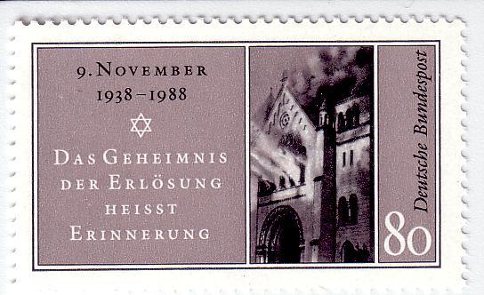 50. Jahrestag der Reichspogromnacht (9. November 1938): Briefmarke der Deutschen Bundespost, 1988