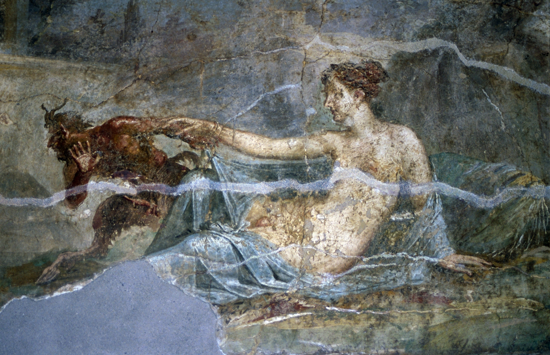 Roman fresco of Pan and Hermaphroditus, Pompeii.jpg