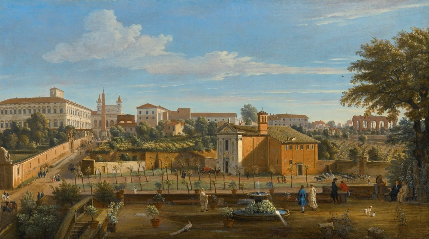 Rome, a view of the Church of Santi Marcellino e Pietro, from the Vigna Ciccolini by Gaspar van Wittel, called Vanvitelli.jpg