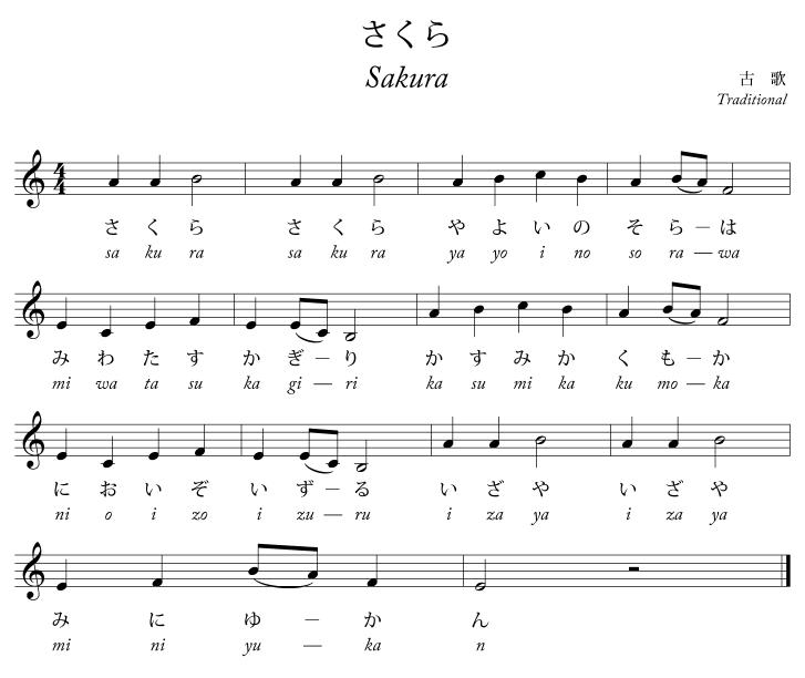 Grenade Flute Sheet Music With Lyrics: Sakura Sakura