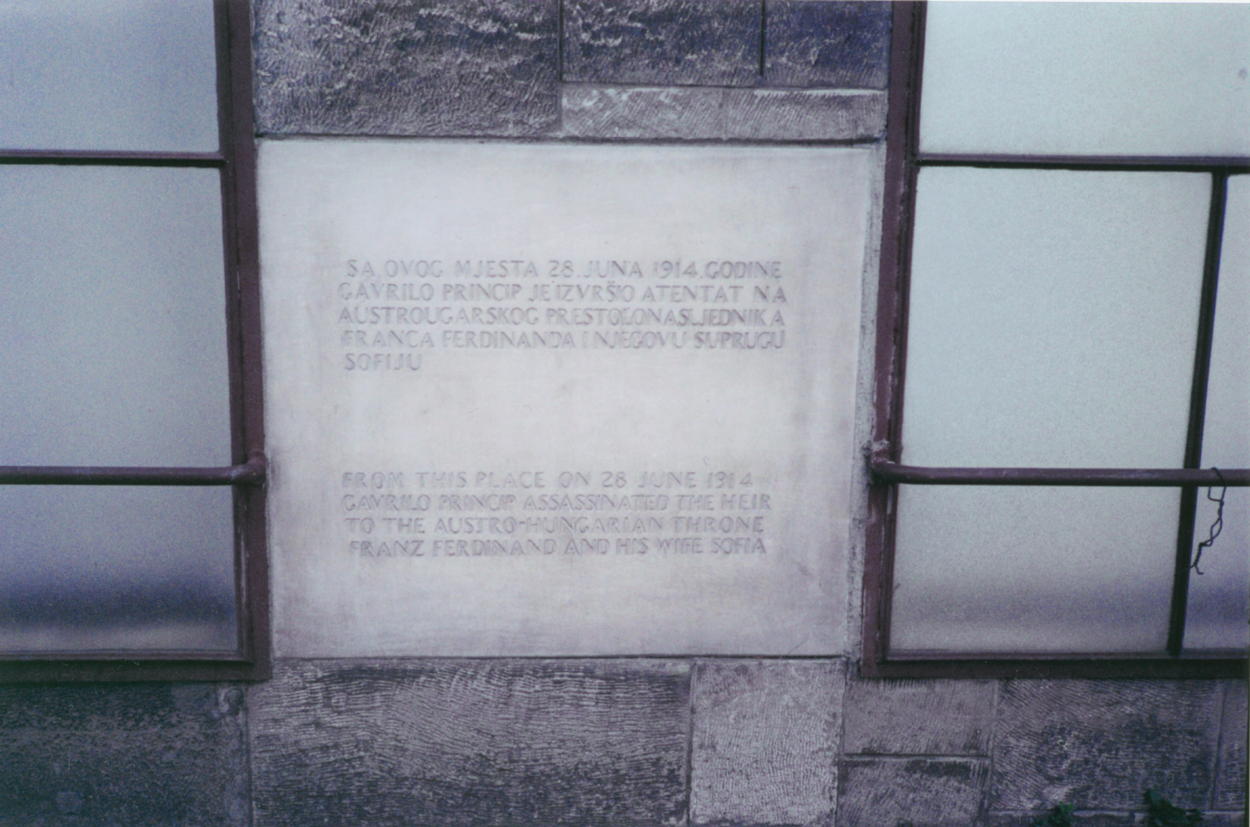 Assassination memorial plaque in Sarajevo