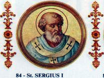 Pope Sergius I's refused to endorse the canons of the Quinisext Council, prompting Justinian II to order his arrest. Sergius I.jpg