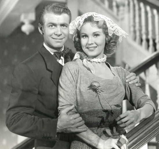 Avec Virginia Mayo, dans La Collégienne en folie (1952, photo promotionnelle)