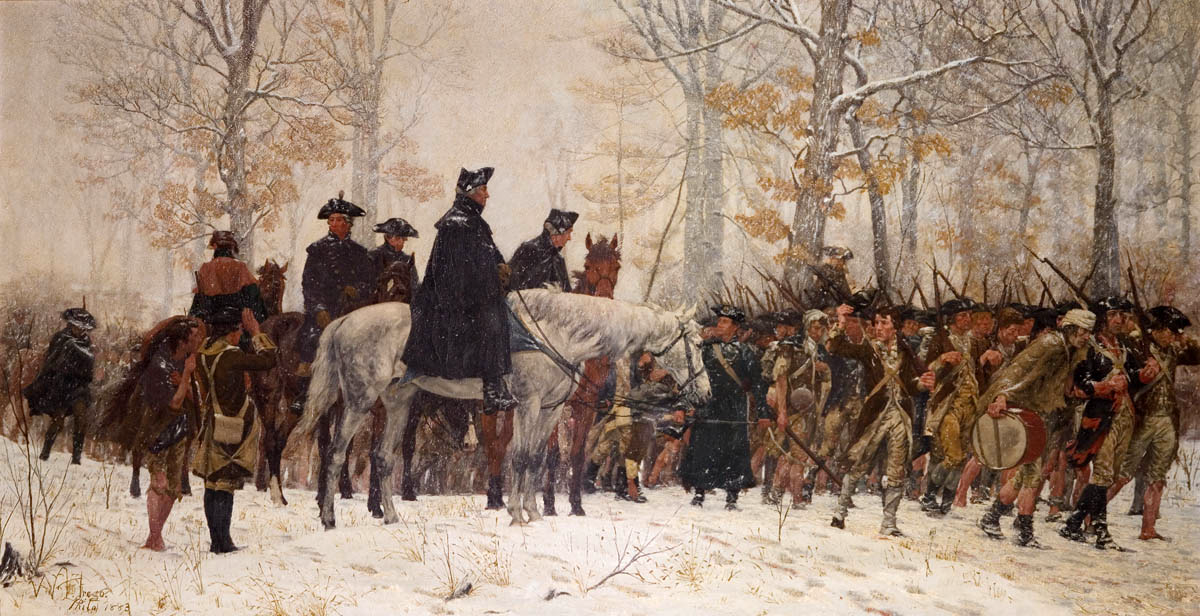 Washington leading Continental Army to Valley Forge by William B. T. Trego, 1883