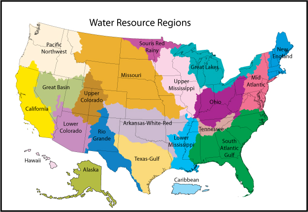 Water Resource Region Wikipedia - Us drainage basins map