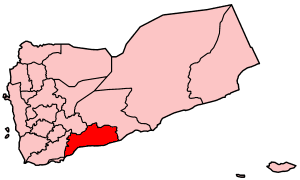 Map of Yemen showing Abyan governorate.
