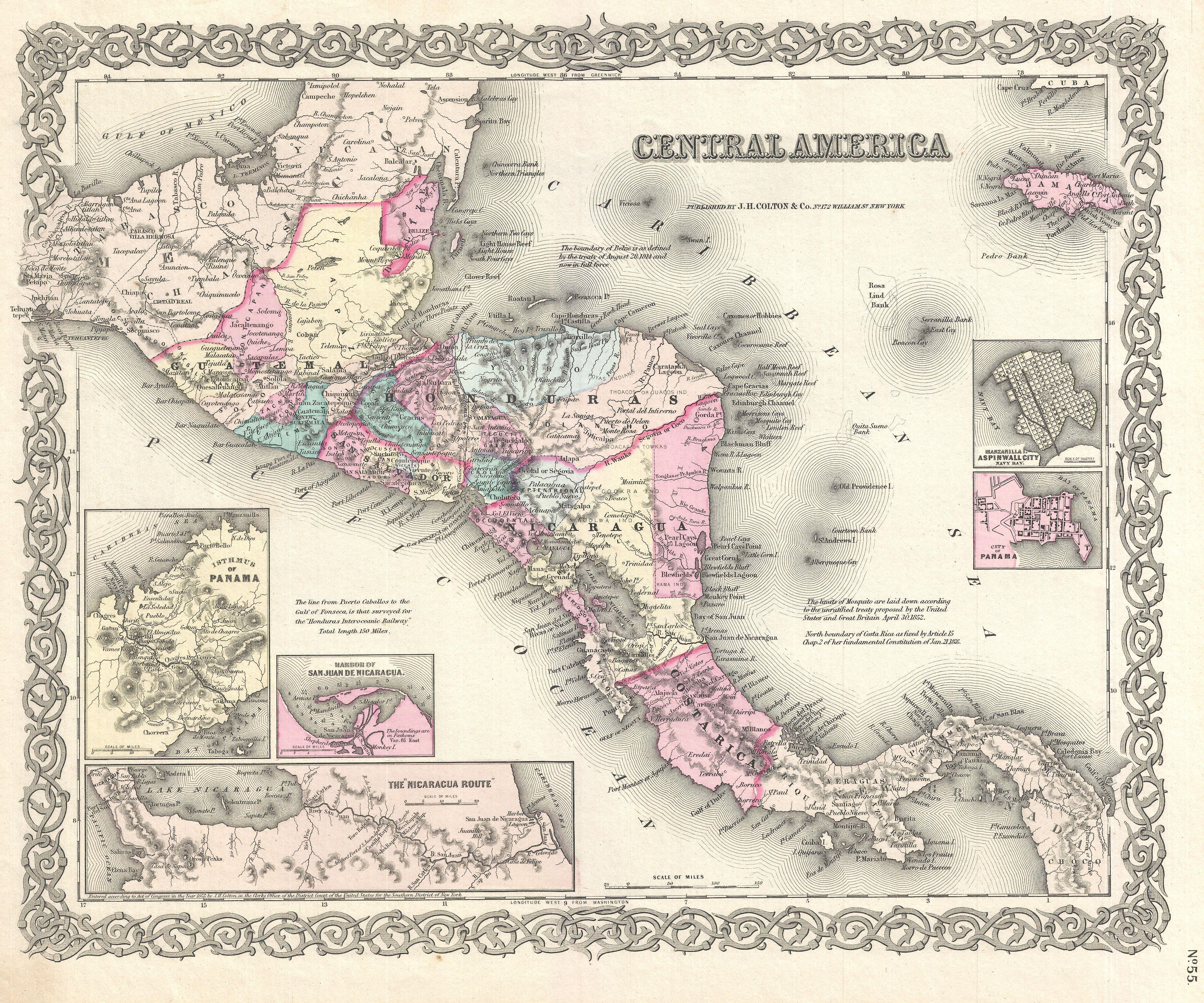 File:1855 Colton Map of Central America and Jamaica - Geographicus ...