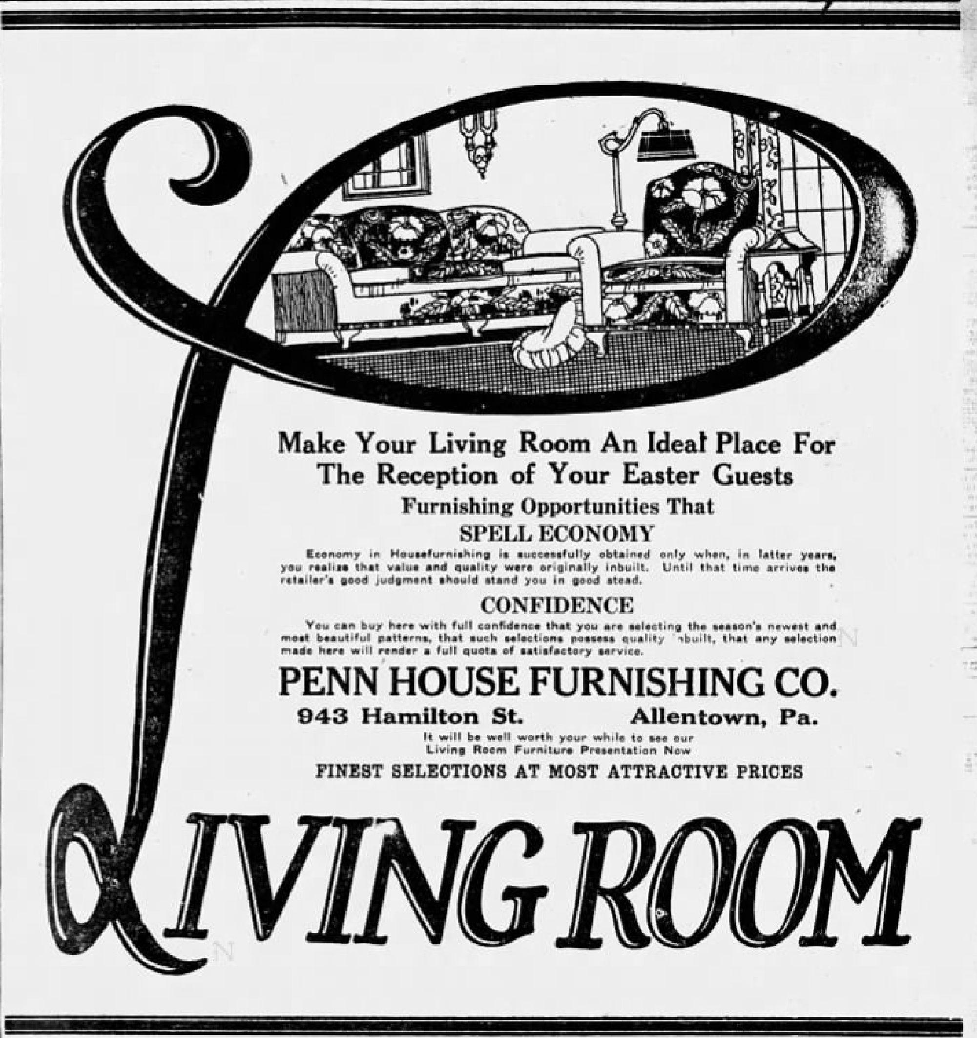Delightful File:1925   Penn House Furniture   3 Apr MC   Allentown PA