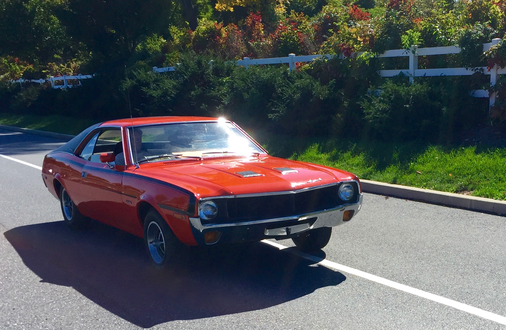 file1970 amc javelin 304 base model red with black canopy roof and c stripes - Open Canopy 2015