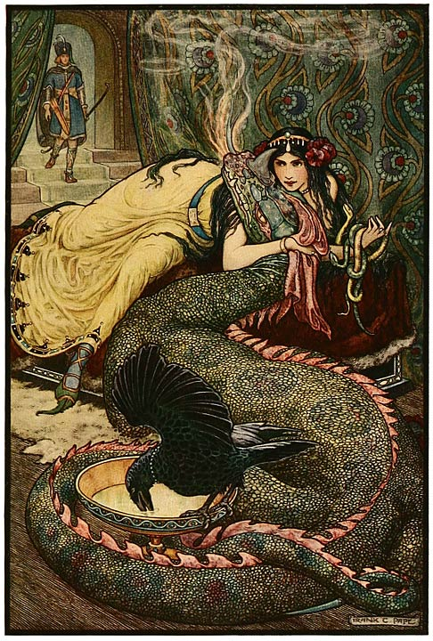 6 Marina lay upon a couch ... and fondled a fiery dragon with her right hand - Russian Fairy Book 1916, illustrator Frank C Pape.jpg
