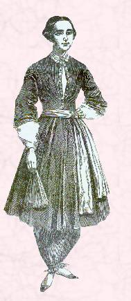 "Depiction of Amelia Bloomer wearing the famous ""bloomer"" costume which was named after her"