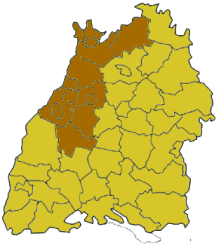 Map of Baden-Württemberg highlighting the  Regierungsbezirk of Karlsruhe