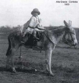 Ernesto Guevara (de 5 años) en el tradicional «burrito cordobés». (Alta Gracia, 1933).
