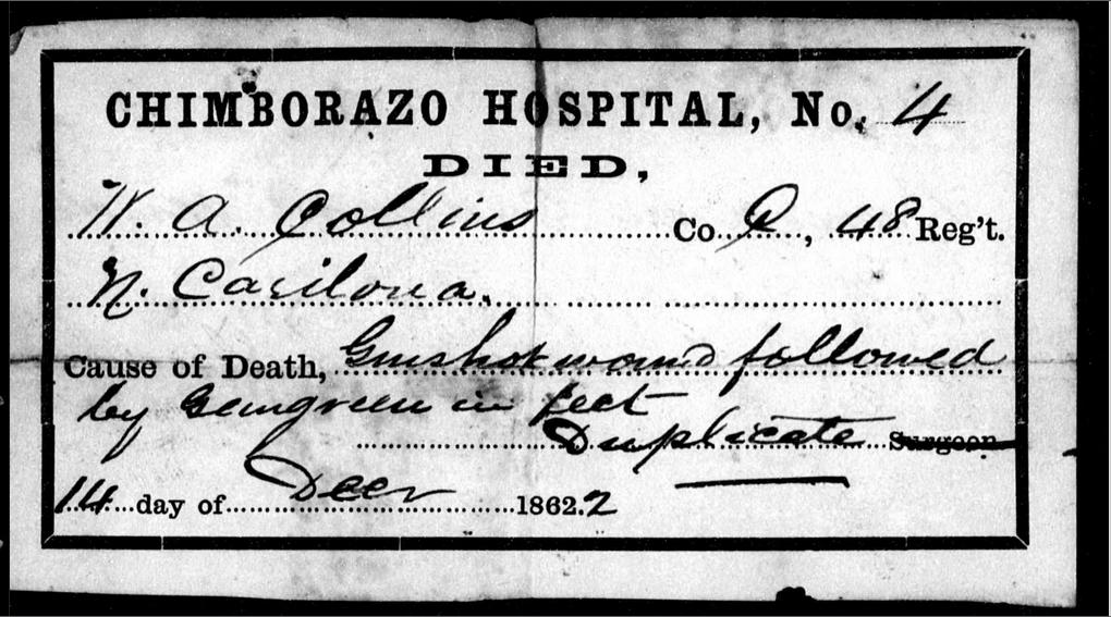 Filechimborazo Hospital Richmond Civil War Death Certificateg
