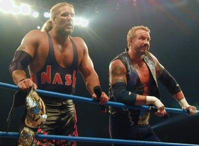 Nash (left) is a nine-time WCW World Tag Team Champion - with two of those reigns alongside Diamond Dallas Page (right) DDP Nash.jpg