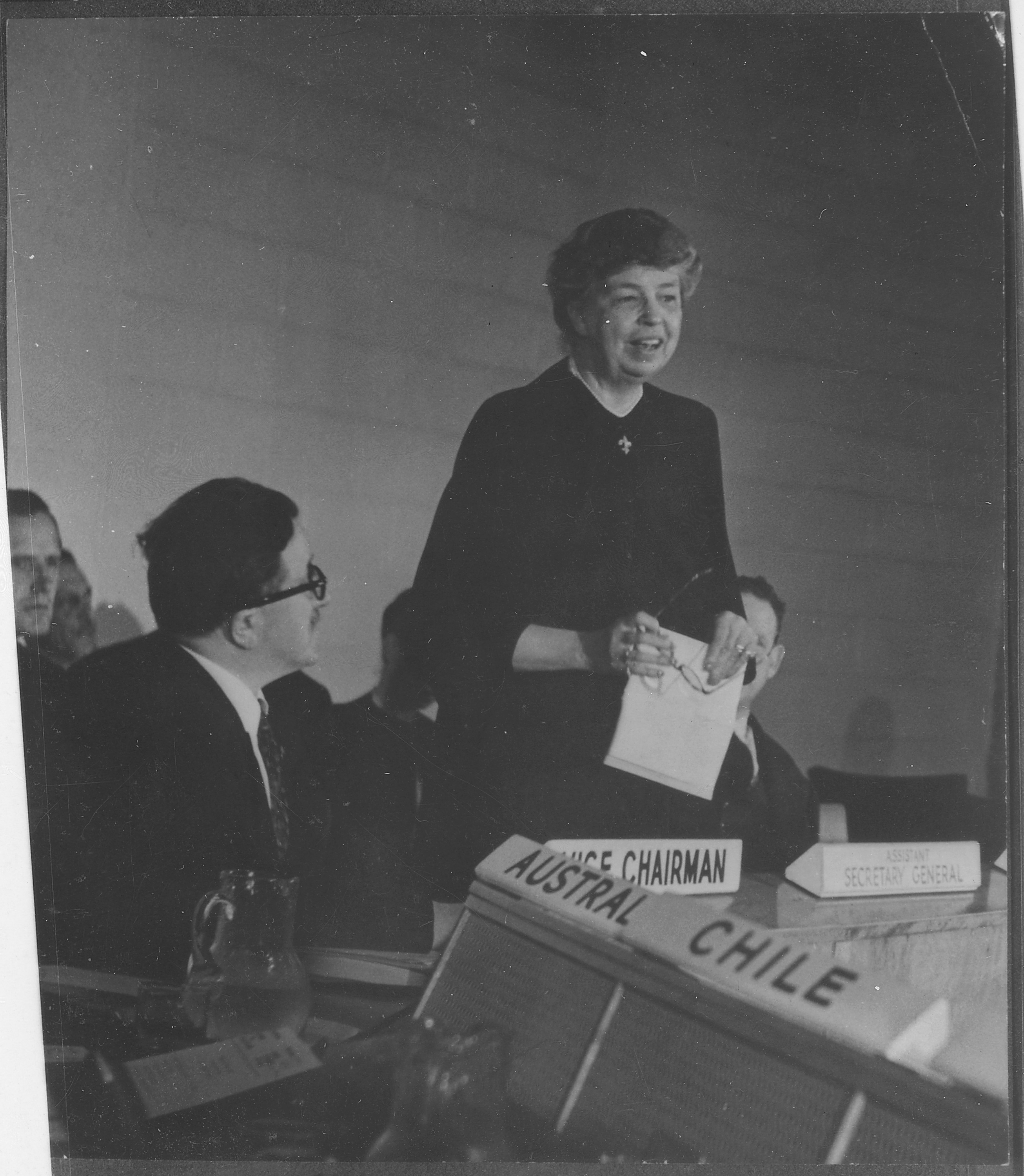 Eleanor Roosevelt at United Nations for Human Rights Commission meeting in Lake Success, New York in 1947