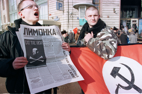"Members of the National Bolshevik Party. ""Nazbols"" tailor ultra-nationalist themes to a native Russian environment while still employing National Socialist aesthetics."