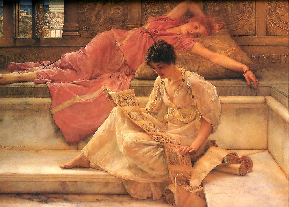 Io nella Libreria, appena ho trovato il mio papiro necessatio (Sir Lawrence Alma Tadema - Il poeta preferito)