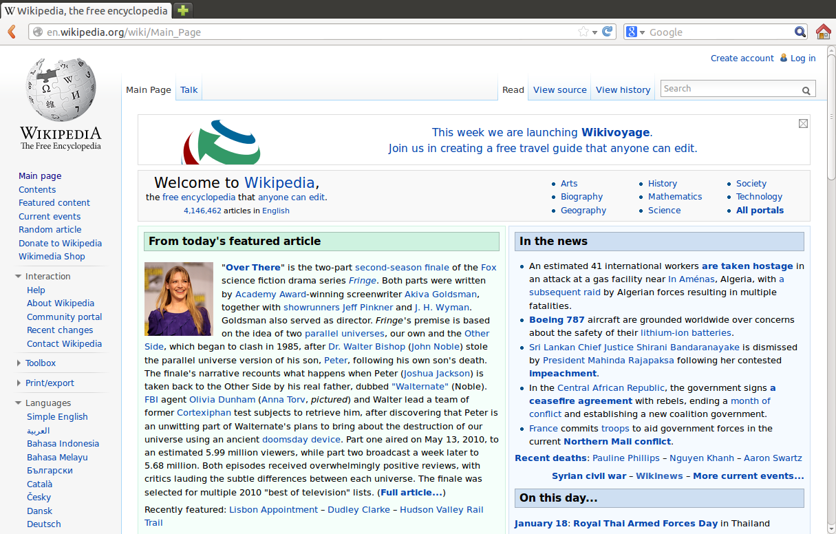 An image of Wikipedia, displayed on Firefox, taken from Wikipedia. The image links to the source page.