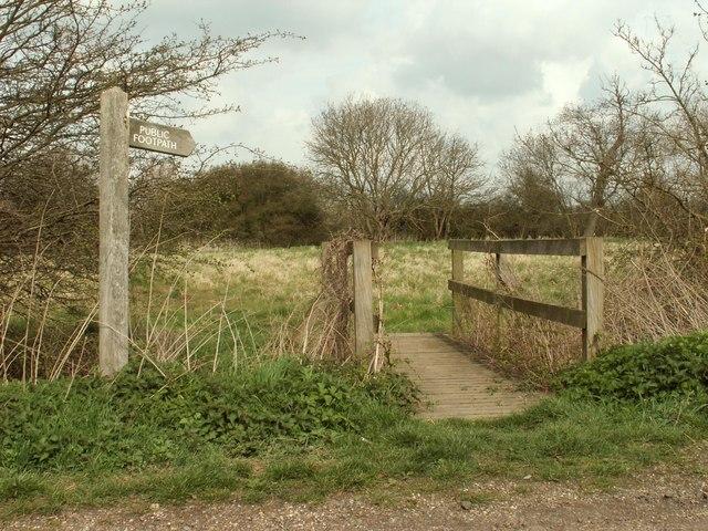 Footpath and footbridge on Stock Lane - geograph.org.uk - 753372