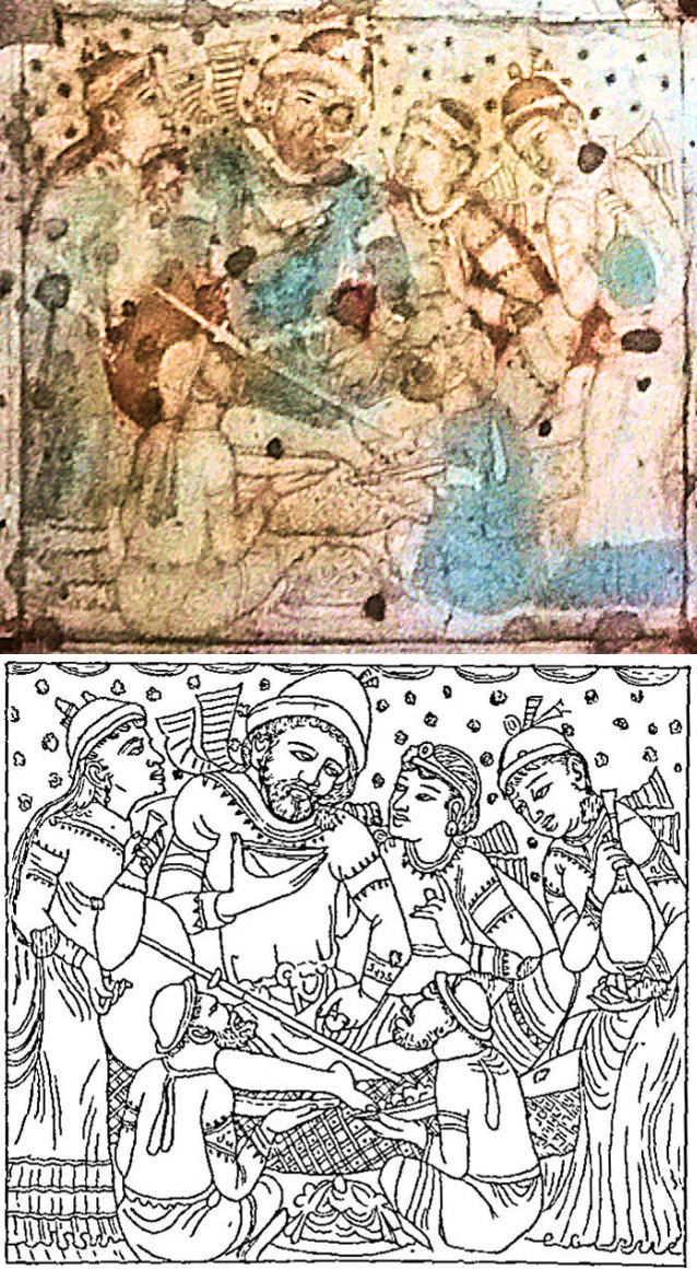 Foreigner on ceiling of Cave 1at Ajanta Caves photograph and drawing.jpg