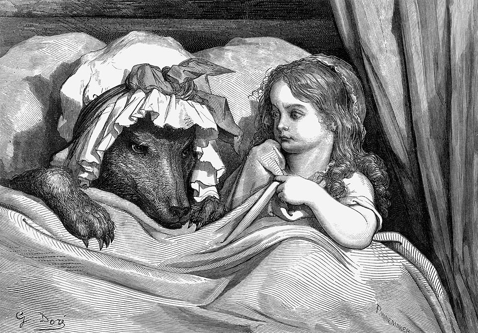Illustration by Gustrav Dore of Little Red Riding Hood in bed with a wolf dressed as her Grandmother.