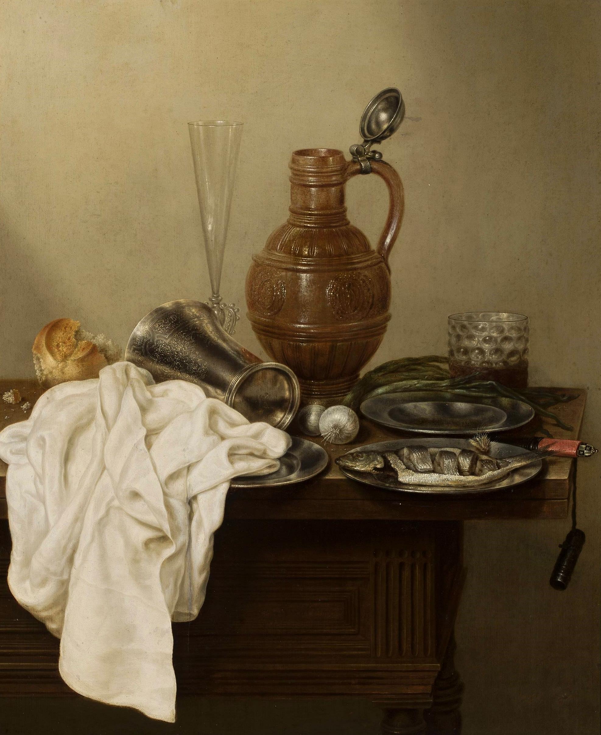 Still life with a stoneware jug