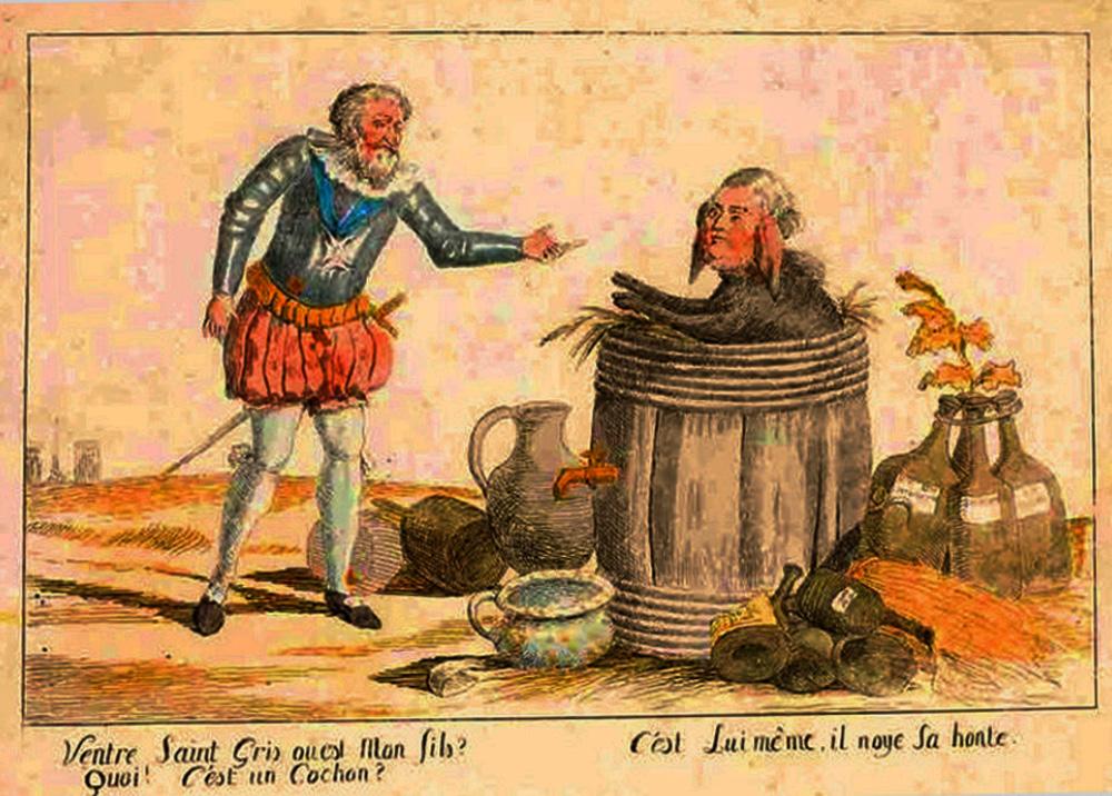 Henri IV et Louis XVI sous la forme d'un cochon dans une barrique XVIIIe Musée de Pau.jpg