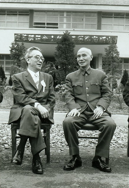 Hu Shih (left) and Chiang Kai-shek in April 1958