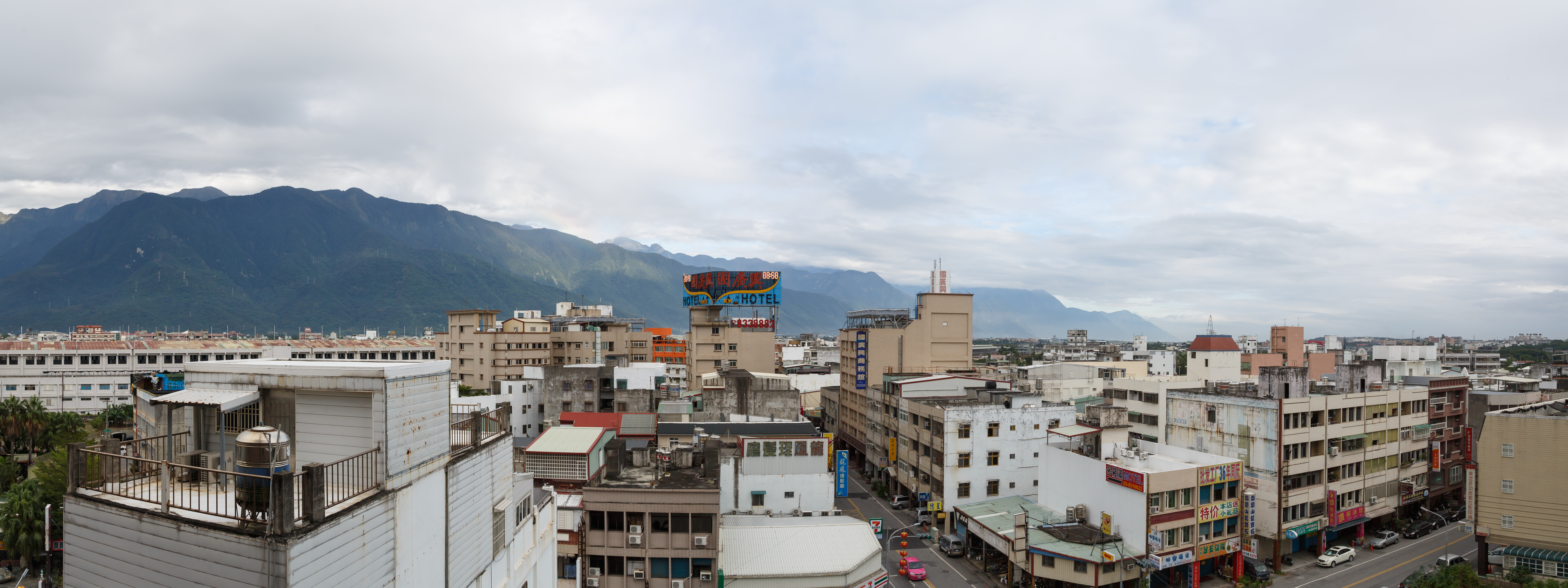 Hualien Taiwan cityscape with mountains.jpg