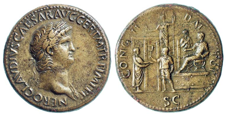 Coin showing Nero distributing charity to a citizen. c. 64-66. Obverse: Laureate head right; NERO CLAVDIVS CAESAR AVG. GER. P. M., TR. P., IMP., P. P. Reverse: Nero togate, seated right on curule chair on low platform and praefectus annonae standing behind him; on ground an attendant standing left distributes tessera (theater tickets) or coins to a citizen, holding out folds of his toga to receive them; a tetrastyle building to the left of them; statue of Minerva standing before temple in background, holding owl and spear; CONG II DAT POP S.C. Nero charity.jpg
