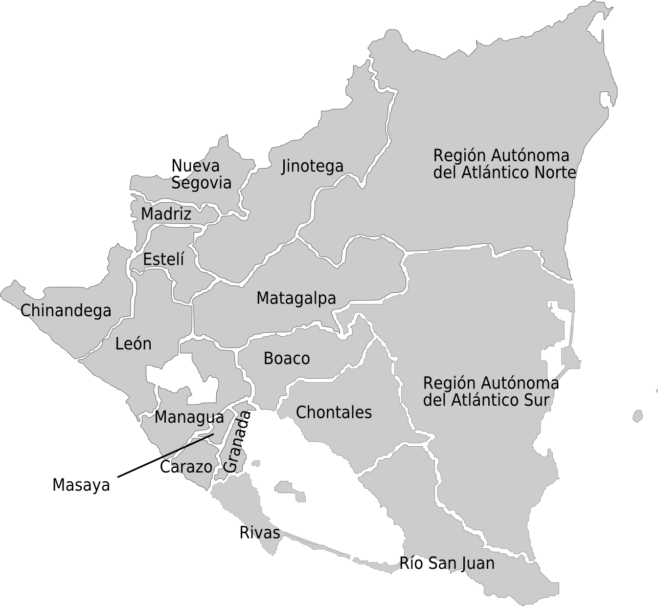 FileNicaragua admin divisions mappng Wikimedia Commons