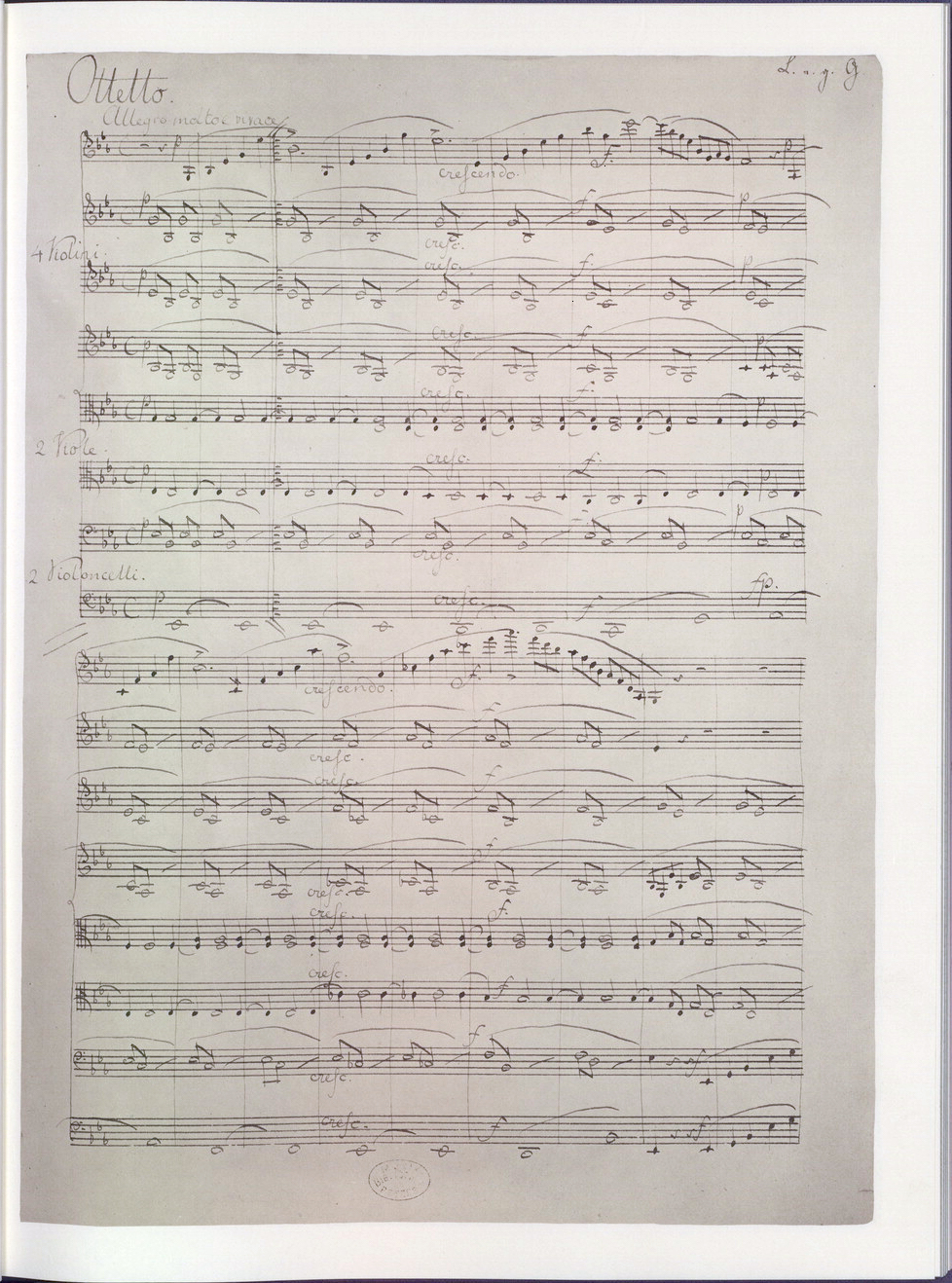 First page of the manuscript of Mendelssohn's Octet (1825) (now in the US Library of Congress) (Source: Wikimedia)