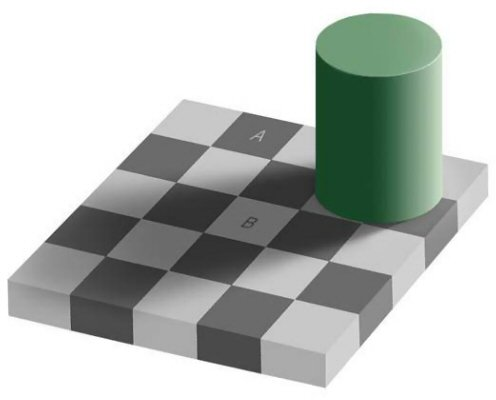 An optical illusion in which two squares that are actually the same color appear to be different colors