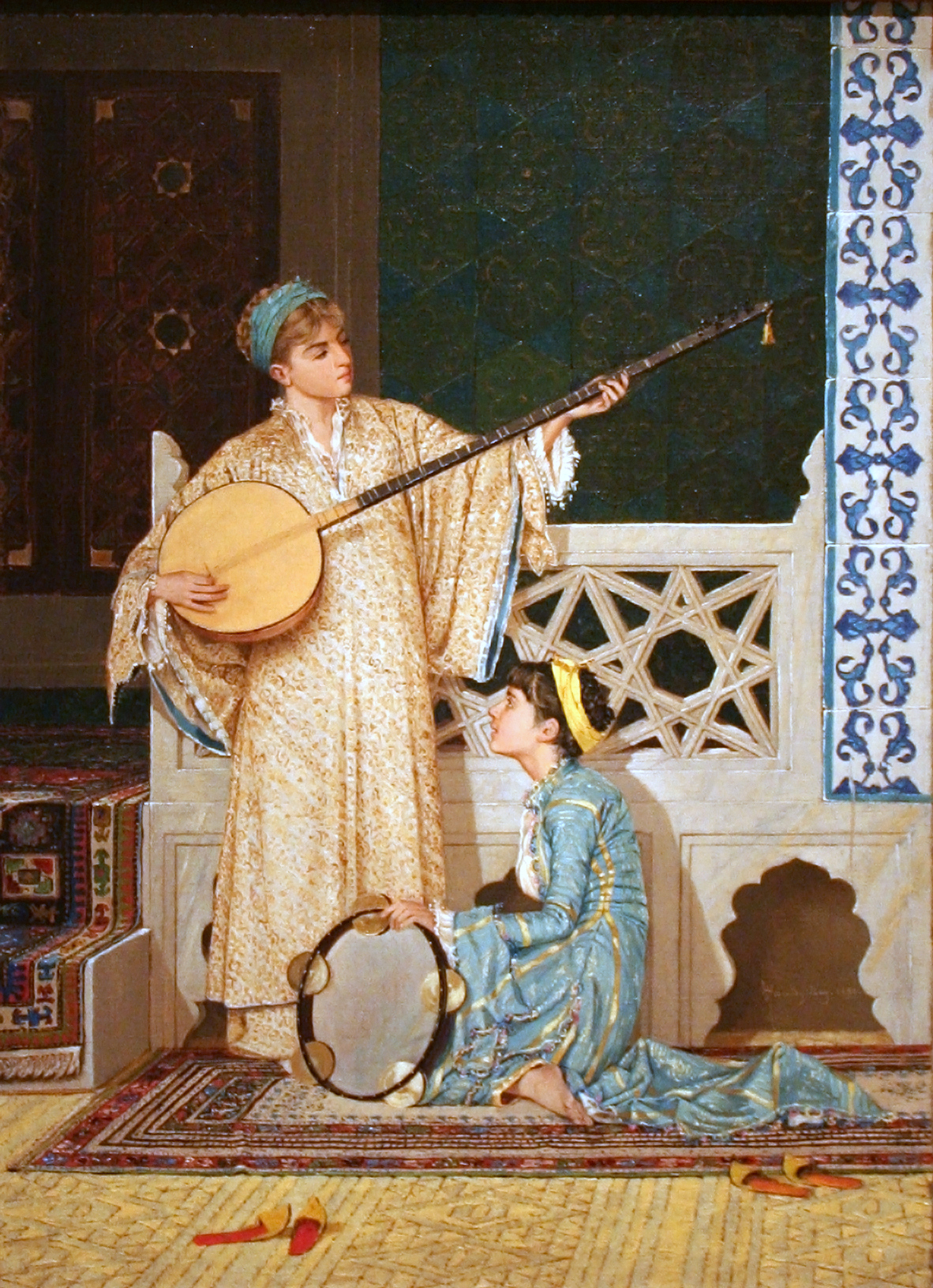 Best depictions of music in paintings: Osman Hamdi Bey, Two Musician Girls, ca. 1880. Wikipedia.