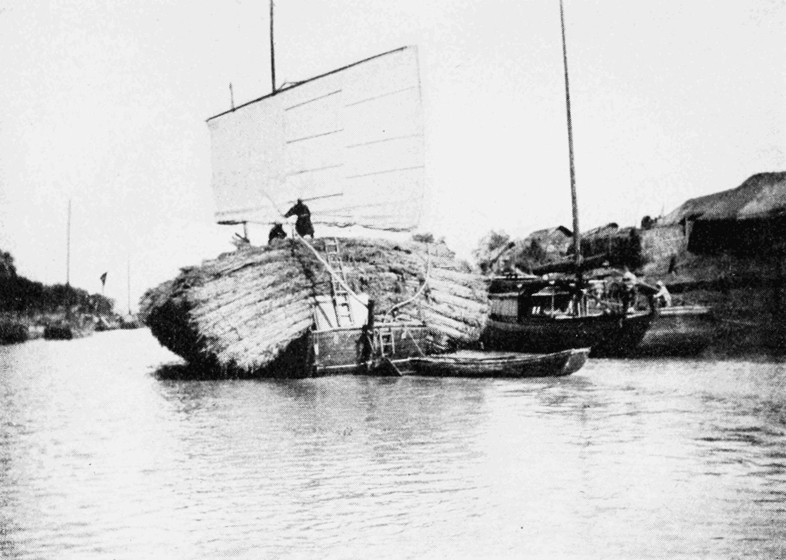 PSM V67 D522 Junk on the grand canal zhenjiang loaded with dry reed grass.png