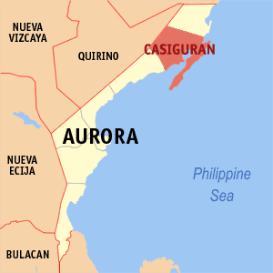 Map of Aurora showing the location of Casiguran