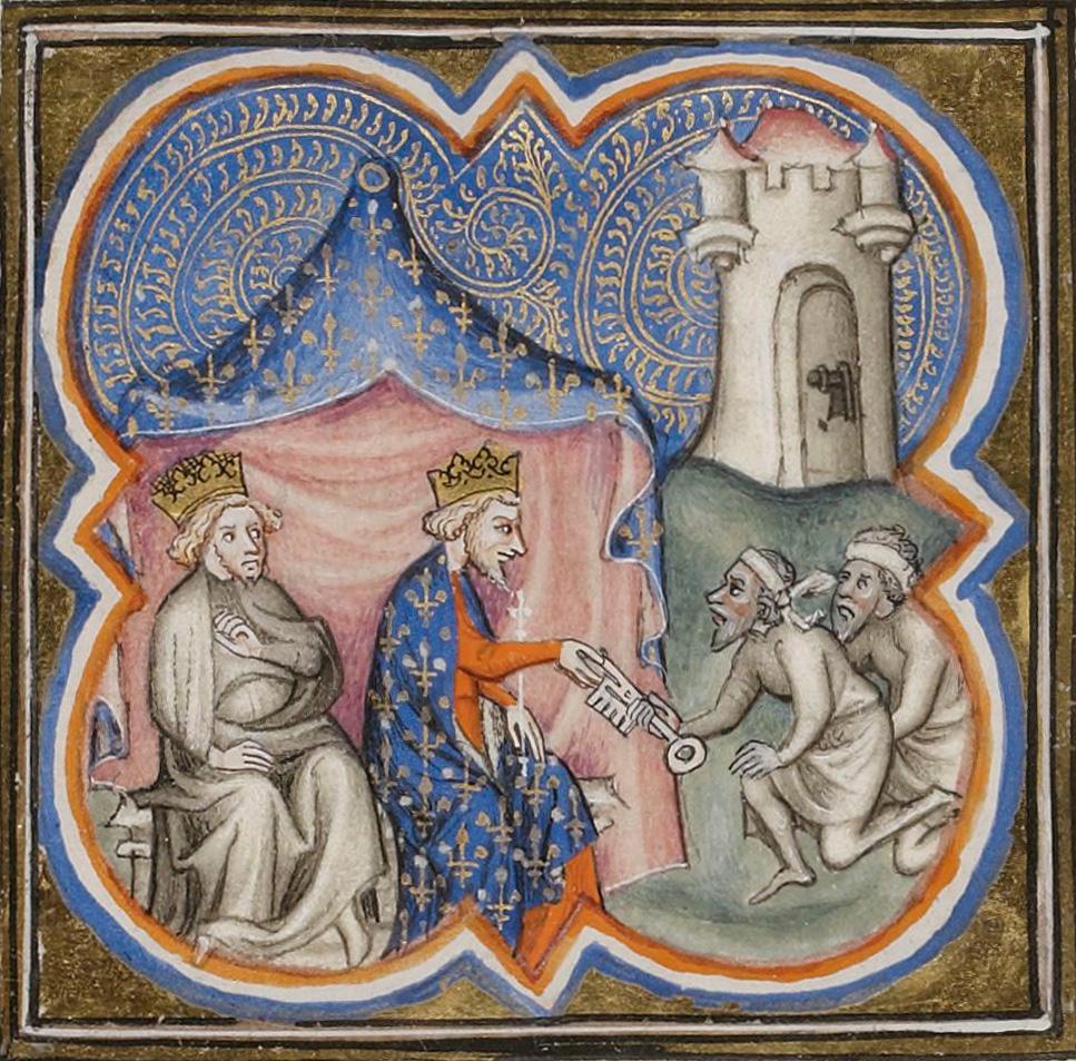 Philip Augustus and Richard the Lionheart receive the keys of Acre (1191). Thumbnail XIV century.